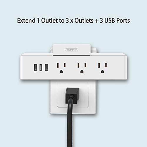 2 Pack Cube Power Strip with 3 USB 3 Outlets - NTONPOWER Cube Tap Power Outlet Extender Adapter with Stand - White