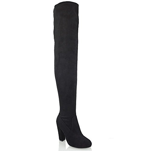 Black Microfiber Knee High Boots - ESSEX GLAM Womens Black Faux Suede Block Heel Over The Knee Stretch Boots 8 B(M) US