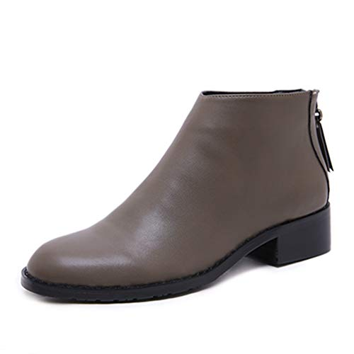JOYBI Women PU Leather Ankle Boots Thick Low Heels Autumn Zipper Ladies Casual Round Toe Chelsea Booties Grey