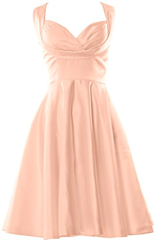 MACloth Fitted Wedding length Sweetheart Pink Women Bridesmaid Party Knee Dress Peach ZZqHf