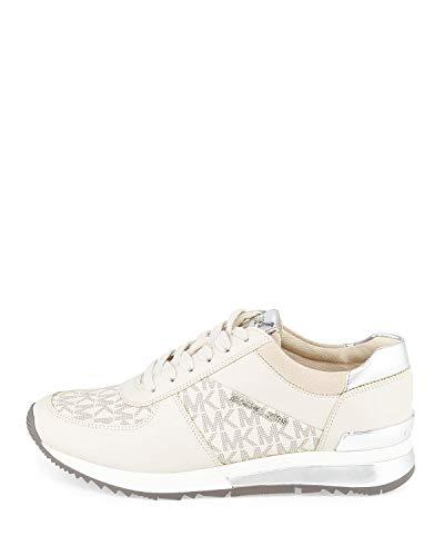 (MICHAEL Michael Kors Women's Allie Trainer Vanilla Suprema Nappa Sport/Mini MK Logo PVC/Sport Suede Sneaker 11)