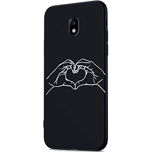 Aura Heart - Galaxy J7 2018 Case,Galaxy J7 Refine Case,ikasus Ultra Thin Black Matte Coating Plastic Soft TPU Silicone Rubber Bumper Back Case for Samsung Galaxy J7 Star/J7 Crown/J7 V/J7 Aura,LOVE Heart