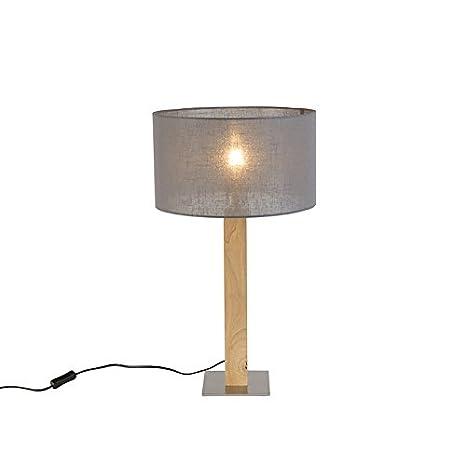 ETH rústico Lámpara de mesa rústica madera con pantalla ...