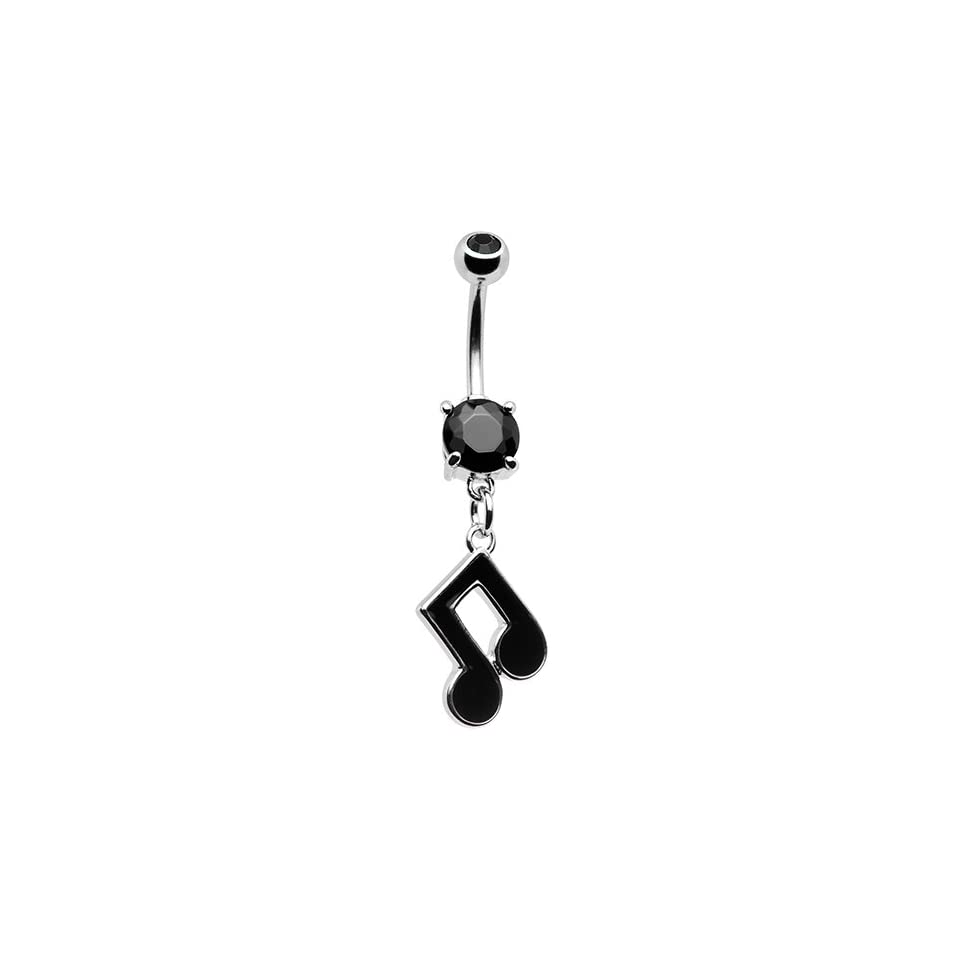 Black Double Gem Music Note Belly Ring