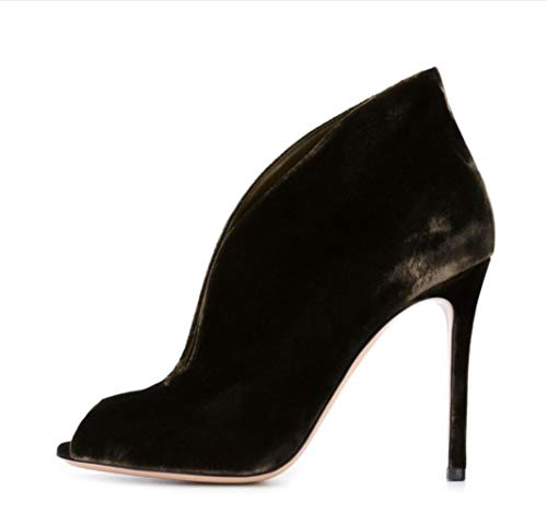 Stiletto Holiday Velvet Heels Shiney A Peep De Botines Party Velos Toe Mujer Terciopelo Booties BaZzxTwPqn