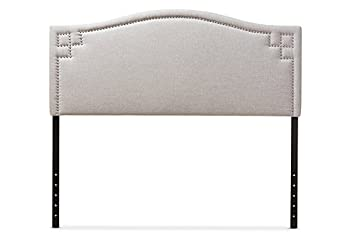 Baxton Studio Aubrey Upholstered Queen Headboard in Grayish Beige