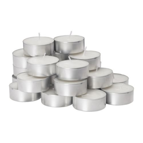 GLIMMA 9 hr Burning Time 24 Pack Unscented Candle in Metal Cup by IKEA