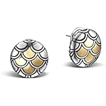 """John Hardy""""Legends Naga"""" Sterling Silver and 18k Bonded Yellow Gold Button Earrings (17mm Diameter)"""