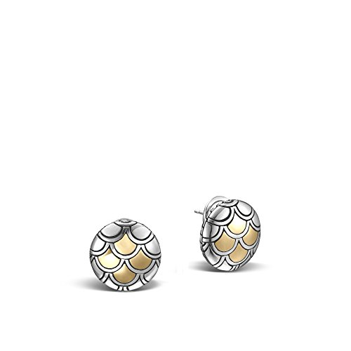 - John Hardy Legends Naga Sterling Silver and 18k Bonded Yellow Gold Button Earrings (17mm Diameter)