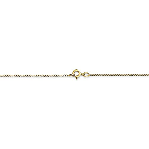 0.42 mm 10k Yellow Gold Thin Curb Chain for Pendants - 18 Inch