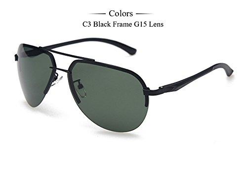 gafas masculino de gafas aluminio C3 hombres Black espejo conductores Frame Gafas de magnesio G15 C2 femenino polarizadas Gafas pistola sol de TIANLIANG04 Marco hombres de de 7qAZAf6