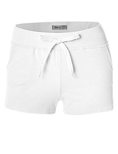 Doublju Womens Cotton Soft Runing Bohemian Performance WHITE Short Pants,Large,L