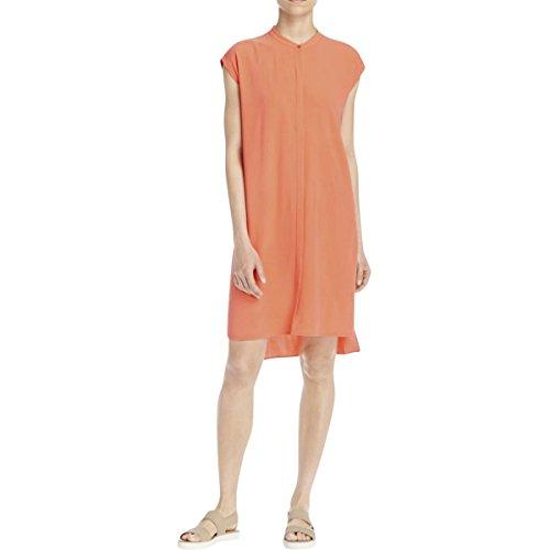 Eileen Fisher Guava Silk Georgette Crepe Mandarin Collar Dress (L)