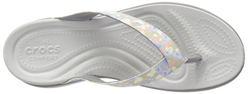 Crocs Capri V Graphic, Sandalias Flip-Flop para Mujer Multicolore (Floral/Light Grey)