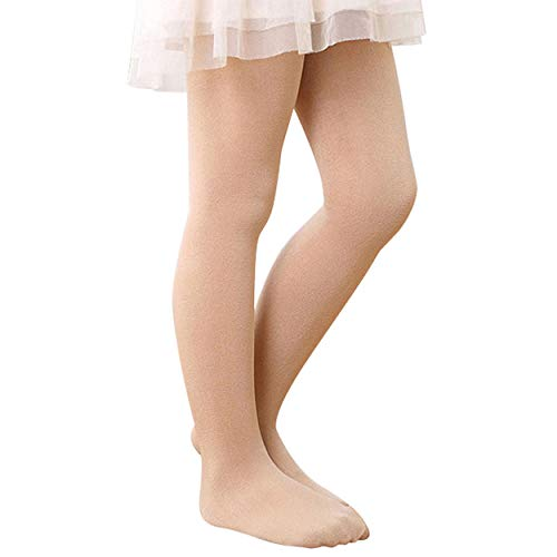 Zando Girls Stretchy Dance Tights Comfort Cotton Colorful Leggings Pants Elastic Ballet Footed Tight for Girl Nude Medium -