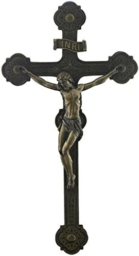 20.5 Inch Cathedral Crucifix Decorative Wall Plaque, Bronze Color