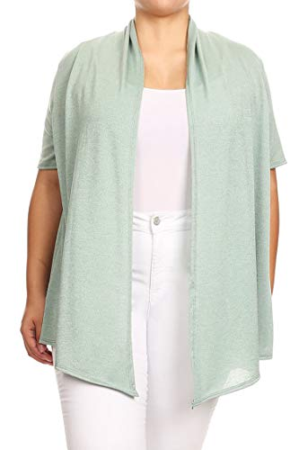 (Plus Size Solid Print Casual Short Sleeve Draped Open Front Cardigan/Made in USA Heather Sage 3XL)