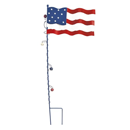 MS HOME 2-Piece Assembly Patriotic American Flag Garden Stake - Metallic, Weatherproof, Durable - 11