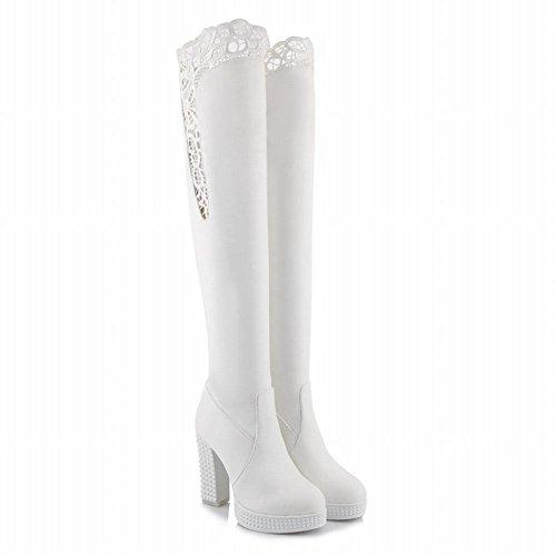 Latasa Womens Platform High Heel Over the Knee Boots White RaWCNF8E