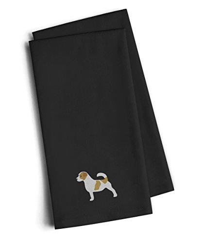 Caroline's Treasures BB3407BKTWE Jack Russell Terrier Black Embroidered Kitchen Towel (Set of 2), 28