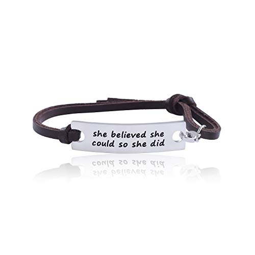 WIGERLON Adjustable Inspirational Leather Bracelets for Family and Friends Color brow