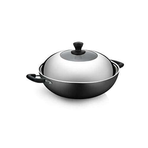 (XIONGHAIZI Wok, 36cm, 40cm Cast Iron Pot, Uncoated, Iron Pot, Cast Iron Pot, Induction Cooker Gas Stove, Open Flame Universal Wok (Color : Black, Size :)