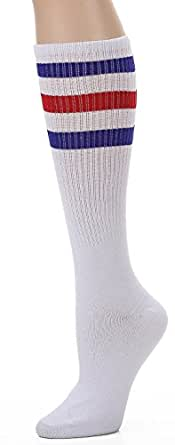 Leotruny Over the Calf Tube Socks (White/Blue/Red)
