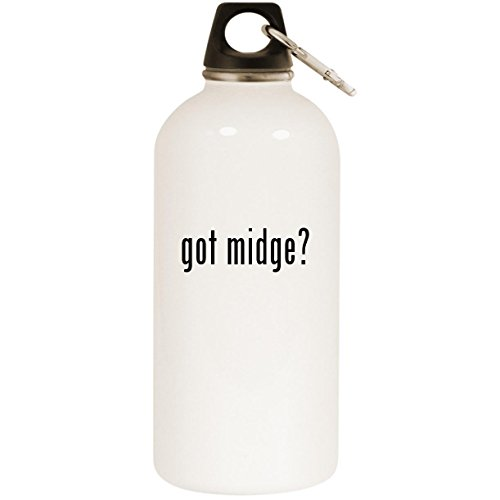 (Molandra Products got Midge? - White 20oz Stainless Steel Water Bottle with Carabiner)