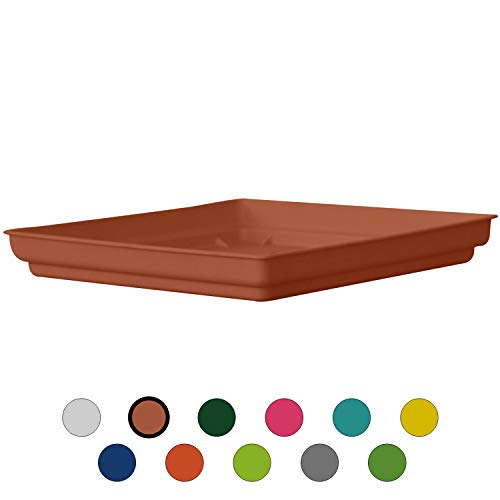 ALMI Plastic Accent Square Planter Drip Tray 10.5-Inch Ideal for 14-inch – for Plants, Flowers, Pot, Indoor, Outdoor – Terracotta