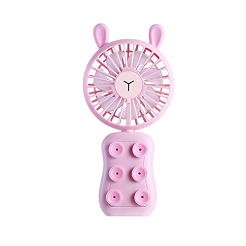 JJLIKER Cute Rabbit Foldable Personal Portable Mini Desk Fans Battery Operated USB Rechargeable Phone Stand Fan For The Home, Travel, Office, Outdoor