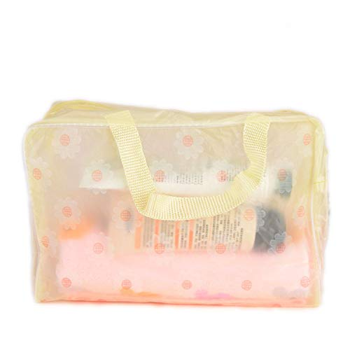 ihuoshang 1 Pcs Flower Daisy Pattern Plastic Waterproof Makeup Bag Storage Bag Travel Organizer Cosmetic Storage Holder for Home,A