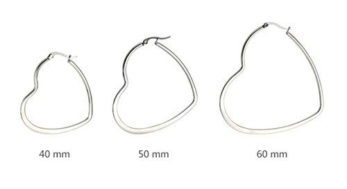 Cuore Per Orecchini Cerchio Inossidabile 40mm Forma Gioielli Acciaio Nero Donna Epinki Bqw016OT