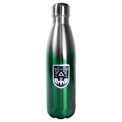 Legend of Zelda 17 Ounces Steel Water Bottle - Licensed Nintendo Collectibles and Products - Novelty Kitchen Accessories - Unique Present for Birthdays, Holidays, House Warming -