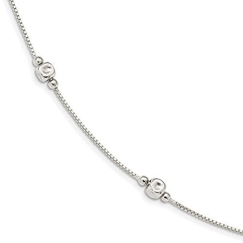 (925 Sterling Silver Cube Beaded 16 Inch Chain Necklace Pendant Charm Bead Station Fine Jewelry Gifts For Women For Her)