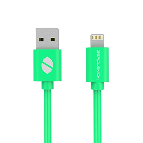 ZeroLemon Y313 Lightning to USB Plastic PVC Cable for Iphone 5s / 5c / 5, Ipad Air / Mini / Mini2, Ipad 4th Generation, Ipod 5th Generation, and Ipod Nano 7th Generation (PVC Green, 6-Inch)