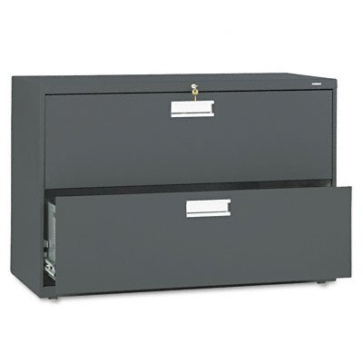 HON 2-Drawer Filing Cabinet - 600 Series Lateral or Legal File Cabinet, 42w by 19-1/4d, Charcoal (H692)