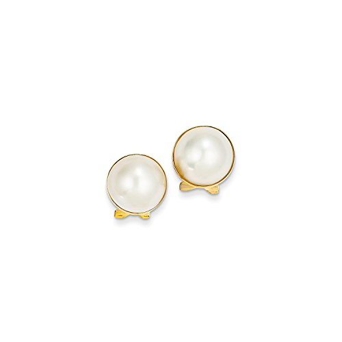 Roy Rose Jewelry 14K Yellow Gold 10-11mm Cultured Mabe Pearl Earrings 14k Yellow Gold Mabe Pearl