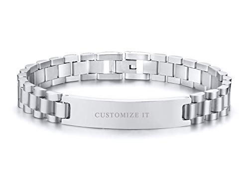 (PJ Jewelry Personalized Custom Engravable Stainless Steel Classic Watch Band Link Chain ID Bracelet for Men)