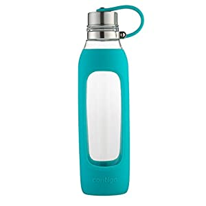 Contigo Purity Glass Water Bottle, 20 oz, Scuba With Silicone Tether