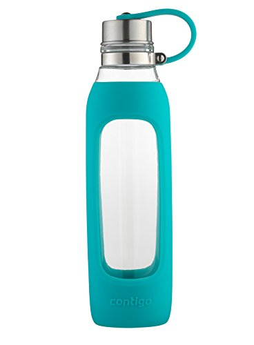 Contigo Purity Botella de vidrio para agua con cubierta de silicon, estilo casual, Azul, 591 mililitros