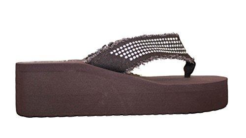 Infradito Da Donna Sandalo In Pelle Con Zeppa Con Cinturini Borchiati Stile Infradito Stile # 2928 Marrone