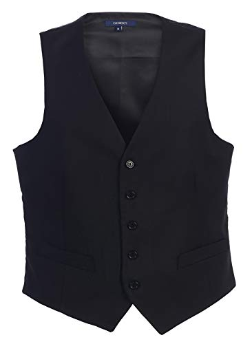 (Gioberti Mens 5 Button Formal Suit Vest, Black, X-Large)