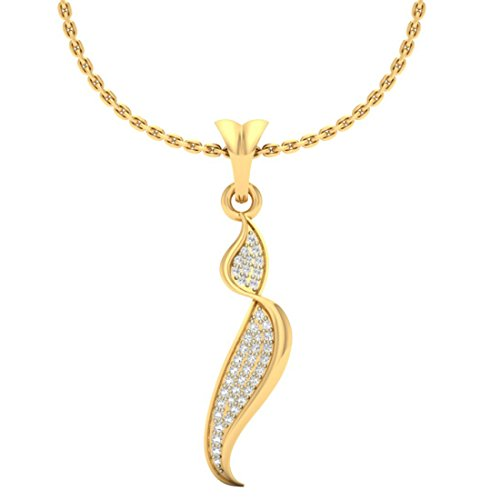 Or jaune 18 K 0.16 CT TW Round-cut-diamond (IJ | SI) diamant Pendentif