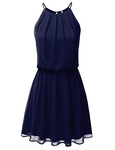 JJ Perfection Women's Sleeveless Double-Layered Pleated Mini Chiffon Dress Darknavy 1X ()