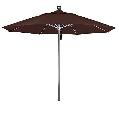 Bay Brown Rib - Eclipse Collection 9'SSteel SinglePole FGlass Ribs M Umbrella SV Anodized/Sunbrella/Bay Brown