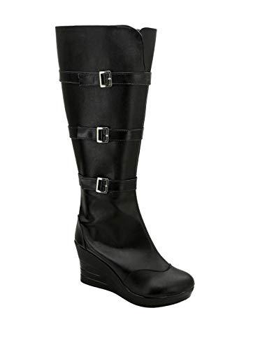 (Allten Womens Widow Natasha Leather Black Wedge Boots Shoes Cosplay Costume (6.5 M US)