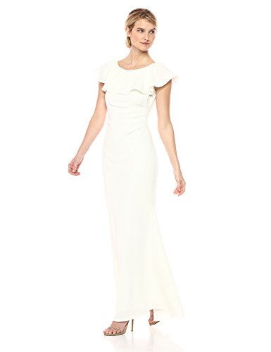 Jessica Howard Women's Flounce Collar Gown, Ivory, 16