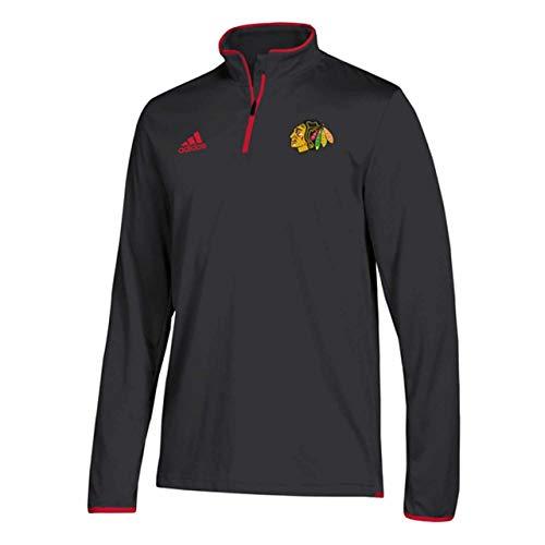 adidas Men's Chicago Blackhawks NHL Authentic 1/4 Zip Pullover Black Size X-Large