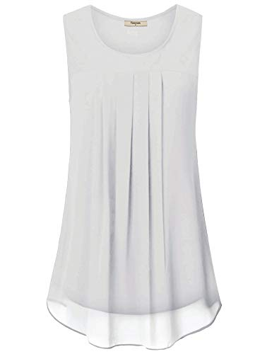 Timeson White Sleeveless Tops for Women, Ladies Sleeveless Swing Top A Line Flattering Tunic Tank Chiffon Blouses for Work Business Casual Summer Clothes Party Shirt White X-Large ()