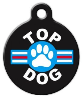 Top Dog Top Gun - Custom Pet ID Tag for Dogs and Cats - Dog Tag Art - LARGE SIZE